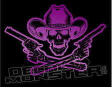 Badass Cowboy Skeleton Dual Pistols Decal Sticker DM