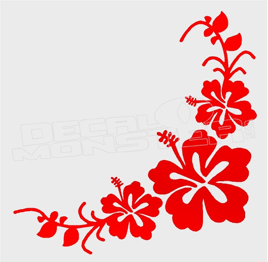 Aloha Hibiscus Flower Border Decal Sticker Dm Decalmonstercom