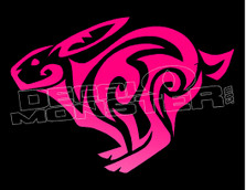 Tribal Running Rabbit Decal Sticker DM