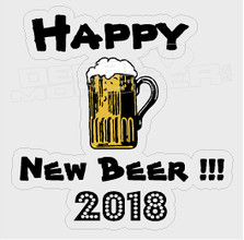 Happy New Beer Text Alcohol Decal Sticker DM