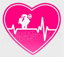Motorcycle Girl Pulse Heartbeat Decal Sticker DM