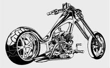 Chopper Silhouette 1 Motorcycle Decal Sticker DM