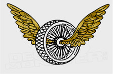 Winged Bike Tire Motorcycle Decal Sticker DM