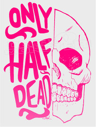 Only Half Dead Skull Decal Sticker
