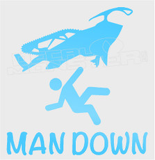 Snowmobile Man Down Sled Decal Sticker DM
