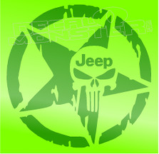 Jeep Army Star Punisher 3 Decal Sticker