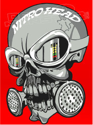 Nitro Head Awesome Skull Drag Race Decal Sticker
