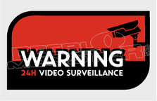 Video Surveillance 24hr Warning5 Decal Sticker