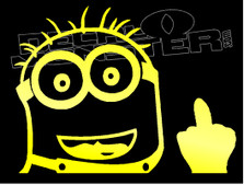 Dave Minion F U Middle Finger Silhouette 2 Decal Sticker