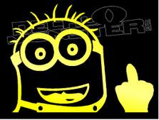 Dave Minion F U Middle Finger Silhouette 2 Decal Sticker