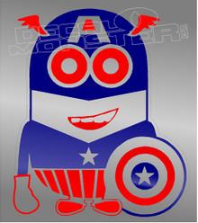 Dave Captain America Minion Silhouette Decal Sticker