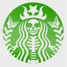 Starbucks Skullbucks Mermaid Parody Decal Sticker