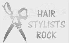 Hair Stylists Rock Skull & Scissors Decal Sticker