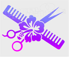 Hawaiian Style Hair Stylist Decal Sticker