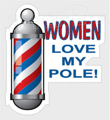 Hair Stylist Women Love Barber Pole Decal Sticker