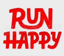 Run Happy Text Decal Sticker