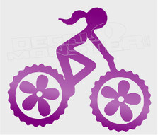 Flower Girl Bike Riding Cycling Decal Sticker