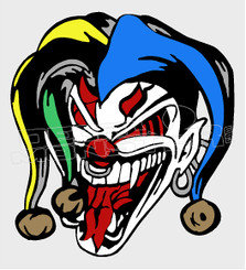 Laughing Crazy Joker Silhouette Decal Sticker