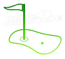 Green and Hole Silhouette Golfing Decal Sticker