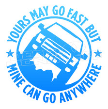 Yours May go fast but mine can go Anywhere Decal Sticker