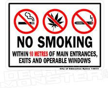 No Smoking Cannabis Vape Bylaw Edmonton Weed Marijuana Tobacco Law Enforcement Compliance 2018 2019 Calgary New Decal Sticker Sign