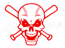 Baseball and Bats Skull Decal Sticker