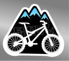 Mountain Bike with Mountains Decal Sticker