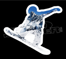 Mountain Snowboarder Silhouette Decal Sticker