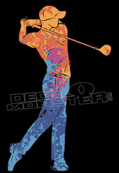Paint Splat Golf Swing Silhouette Decal Sticker