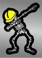 Worker Skeleton Dab Dance Decal Sticker