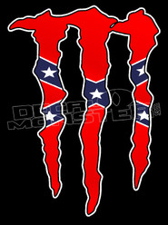 Confederate Rebel Flag Monster Decal Sticker
