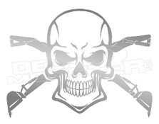 Excavator Track Hoe Skull Crossbones Decal Sticker DM
