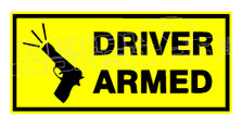 Driver Armed Gun Decal Sticker DM