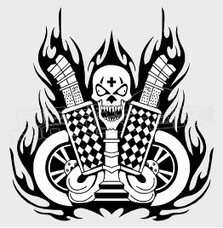 Twin Turbo Coal Rolling Skull Decal Sticker DM