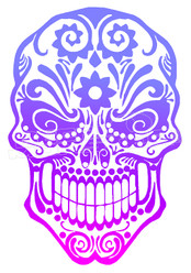 Sugar Skull Silhouette Decal Sticker DM