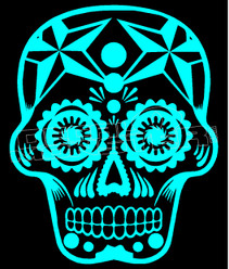 Sugar Skull Silhouette 2 Decal Sticker DM