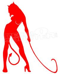 Devil Girl Silhouette Decal Sticker DM