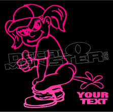 Girl Peeing on your custom text Decal Sticker DM