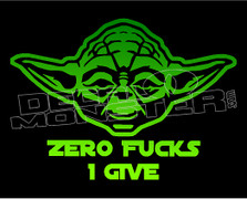 Zero Fucks I Give Yoda Decal Sticker DM