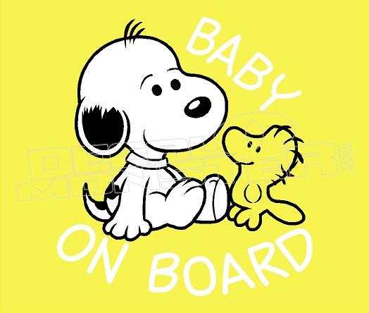 Cartoon Snoopy Baby On Board 3 Decal Sticker Dm