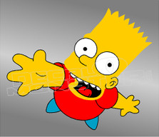Happy Bart Reaching The Simpsons Decal Sticker DM