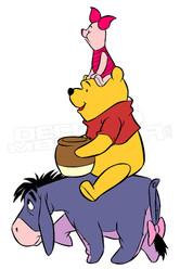Winnie the Pooh Eeyore Piglet Teamwork 1 Decal Sticker DM