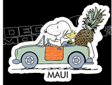 Driving Snoopy 1 Maui Island Style Silhouette Decal Sticker