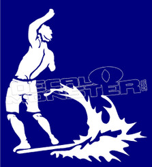 Hawaiian Beer Holding Surfer Decal Sticker