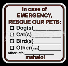 Hawaii Pet Rescue Safety Label Decal Sticker