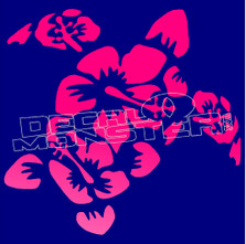 Hawaiian Hibiscus Turtle Silhouette Decal Sticker