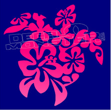 Hawaiian Hibiscus Flower Turtle 2 Decal Sticker