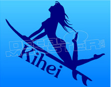 Female Kihei Surfer Decal Sticker