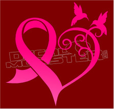 Hummingbird Cancer Awareness Heart Decal Sticker