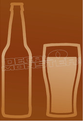 Drink Beer and Glass Silhouette Decal Sticker
